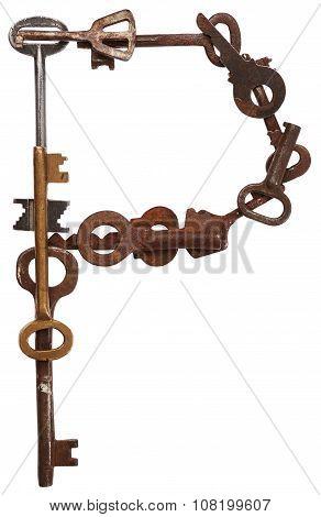 Alphabet from old keys. Letter P