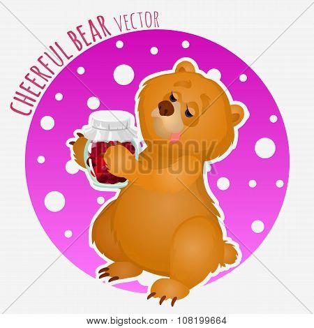 Sweet tooth bear with sweet jar of jam
