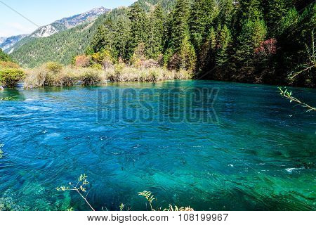 Scenery Of Lake in forest with Mountain in Autumn