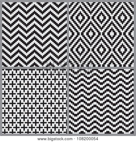 Abstract Geometric Seamless Pattern Set Background