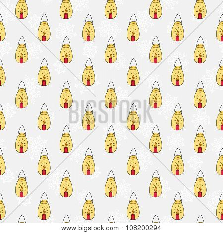 Hand Drawn Candles Seamless Pattern