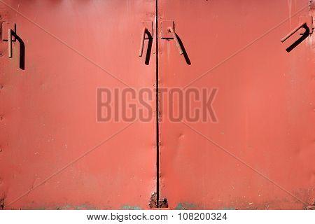 Old metal cabinet doors background