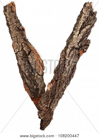 Alphabet from bark tree. Letter V