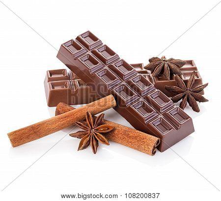 Chocolate And Cinnamon Sticks, Star Anise Isolated