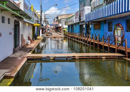 Flooded City Of Santarem In The Amazon Rainforest, Brazil