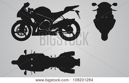 Front, top and side bike projection