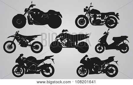 Set of 7 side different bikes projection