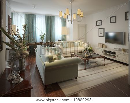 Romantic Living Room In The Romanesque Style