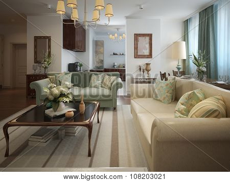 Living Room In A Neoclassical Style