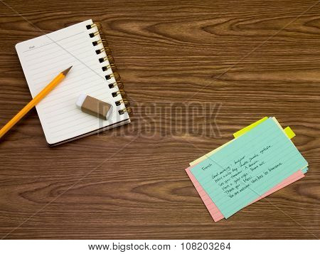French; Learning New Language Writing Words On The Notebook