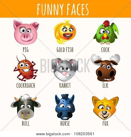 Animal funny faces, set of nine character