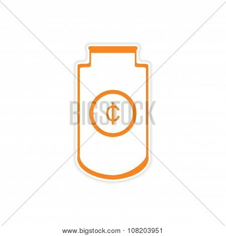 stylish sticker on paper Economic logo on white background