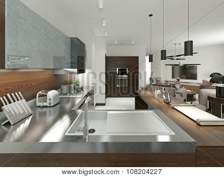 Contemporary Kitchen With Metal Worktop.