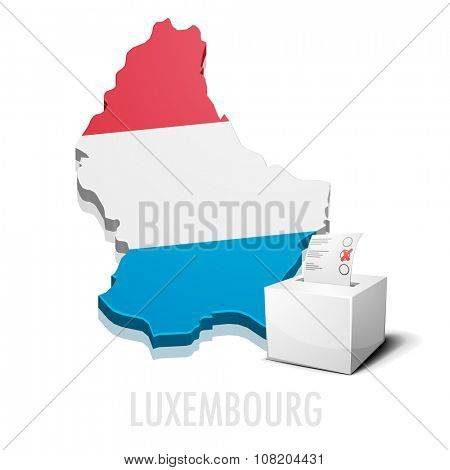 detailed illustration of a ballotbox in front of a map of Luxembourg, eps10 vector