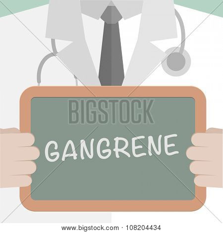 minimalistic illustration of a doctor holding a blackboard with Gangrene text, eps10 vector