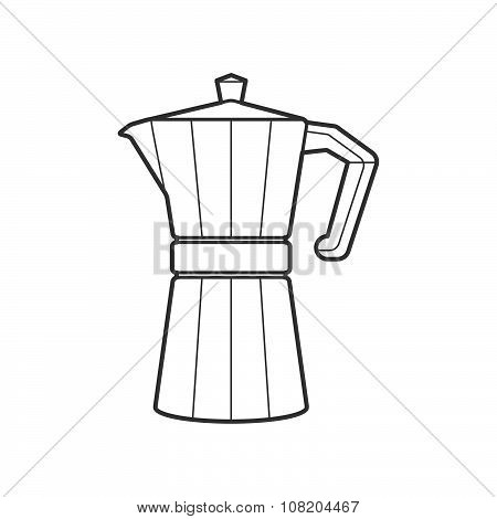 Outline Metal Faceted Coffee Pot Illustration.