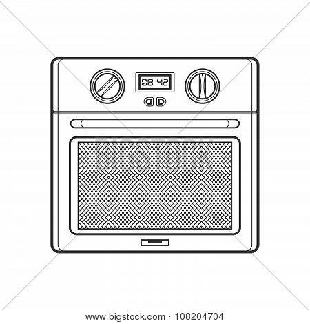 Outline Kitchen Oven Illustration.