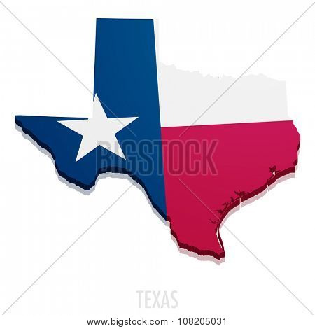 detailed illustration of a map of Texas with flag, eps10 vector
