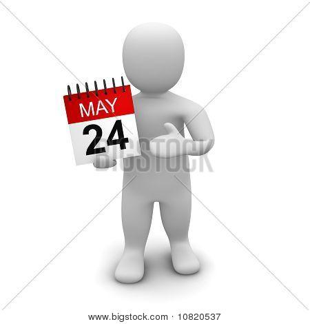 Man holding calendar
