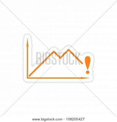 stylish sticker on paper falling economic schedule