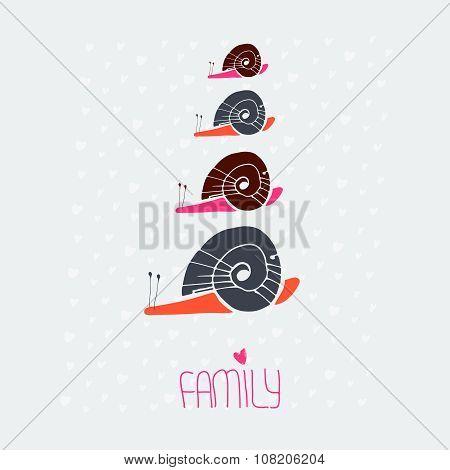 snail family love card