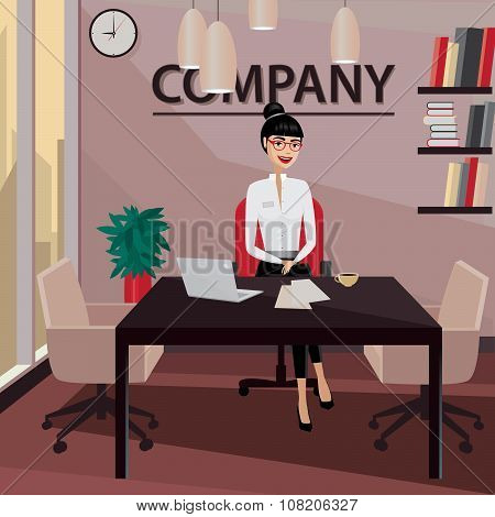 Business Woman Sitting In Her Private Office