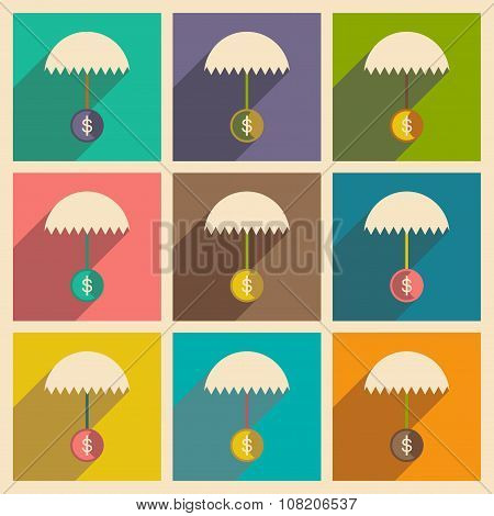Modern flat icons vector collection with shadow umbrella dollar