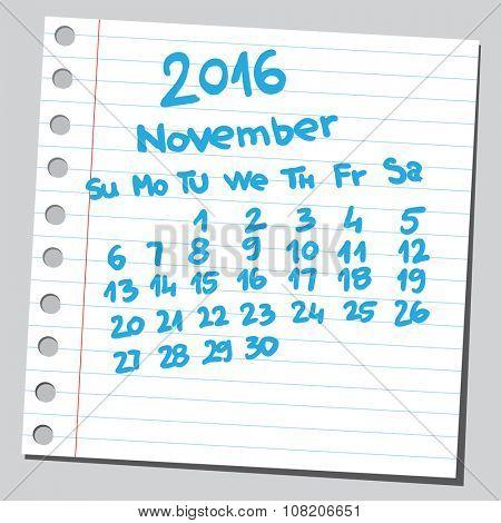 Calendar 2016 november (sketch style)