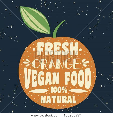 Vegan Typographic Print With Orange.