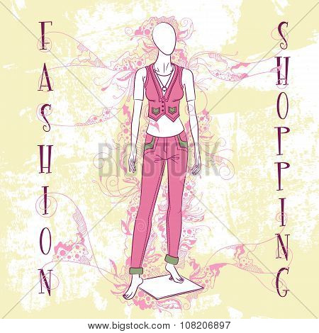 Decorative Fashion Illustration Mannequin For Sale