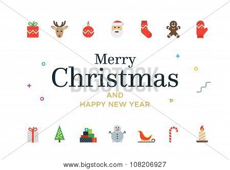 Modern Christmas Card with icons. Minimalistic illustration