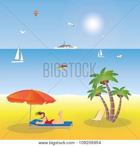 Young Girl Lying On The Beach Under An Umbrella.
