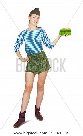Woman In Garrison Cap With Gift
