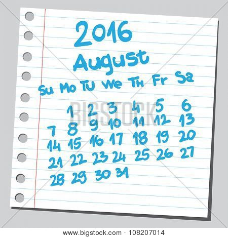Calendar 2016 august (sketch style)