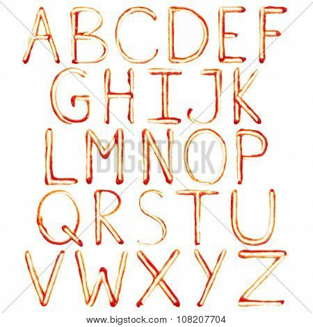 Alphabet Of Ketchup. Set