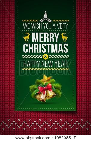 Merry Christmas and Happy New Year message on northern style vector knitted pattern. Elements are layered separately in vector file. Global colors. Easy editable.