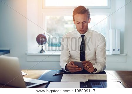 Executive Business Man Texting On His Phone