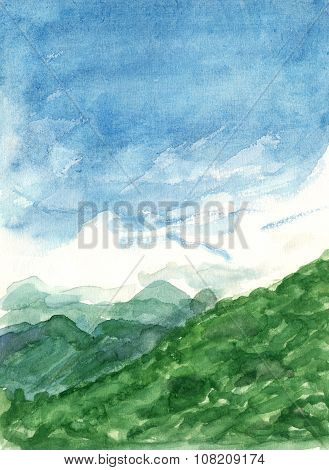 Watercolour landscape with blue sky and green grassy mountains, painted in the Sierra de Guadarrama
