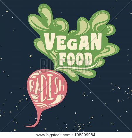 Vegan Typographic Print With Radish.