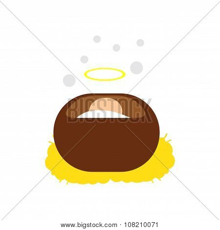 flat icon with long shadow Jesus in manger