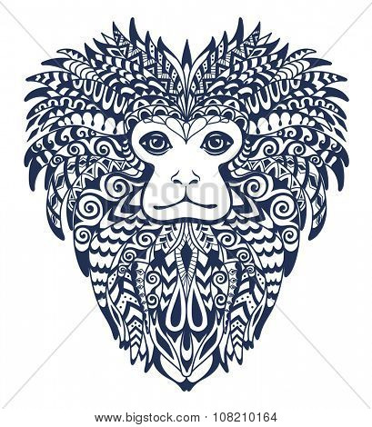 Patterned Head of the Lion Tamarin.  Totem , Tattoo and T-shirt Design.