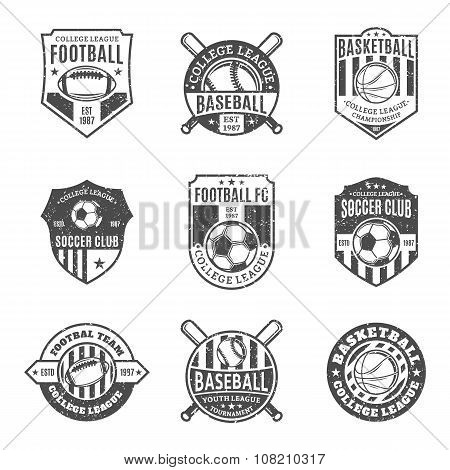 Set Of Sport Team Labels For Four Sport Disciplines