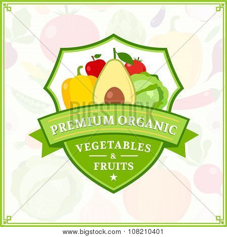 Fruits And Vegetables Label, Fruits And Vegetables Icons And Design Elements