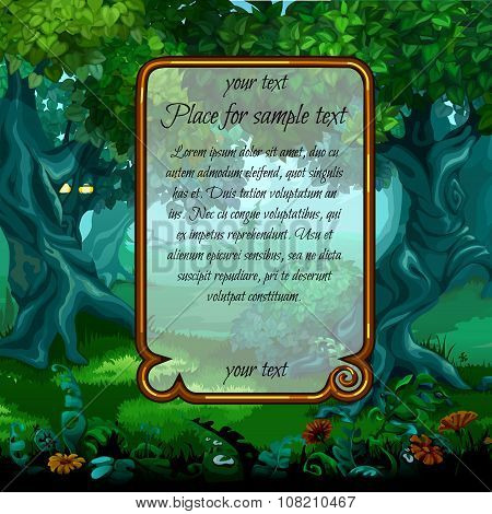 Landscape with nature and frame for sample text