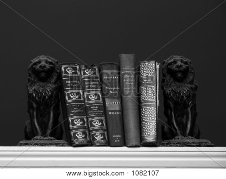 Old Books Held With Lion Bookends