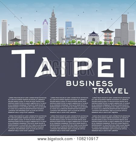 Taipei skyline with grey landmarks, blue sky and copy space. Vector illustration. Business travel and tourism concept with place for text. Image for presentation, banner, placard and web site.