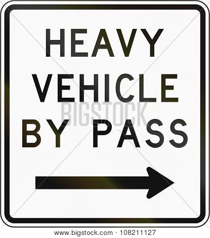 New Zealand Road Sign - Bypass For Heavy Vehicles, To Right