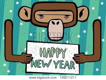 Happy New Year Comic Monkey