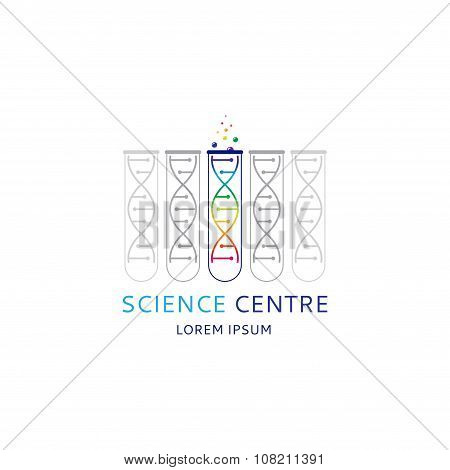 Dna Logo Template With The Test Tube