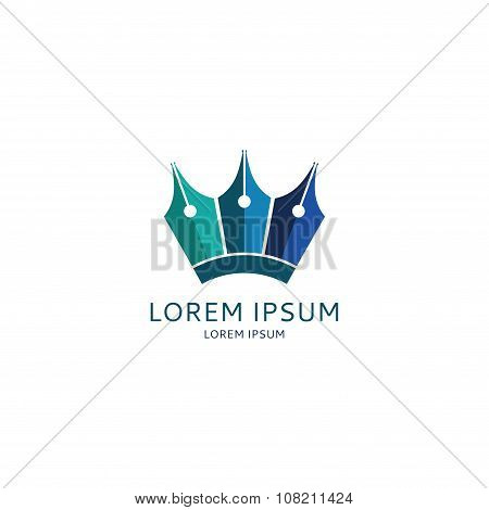 Concept Of Logo Of Lawyer With Fountain Pens